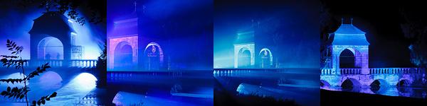 Zauberhafte nächtliche Illumination des Parks von Schloss Dyck. Ein Spiel aus Perspektiven, Licht ...