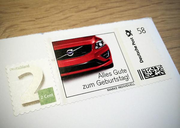 Geburtstagsbriefmarke von Volvo