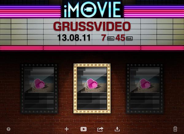 iMovie Startbildschirm