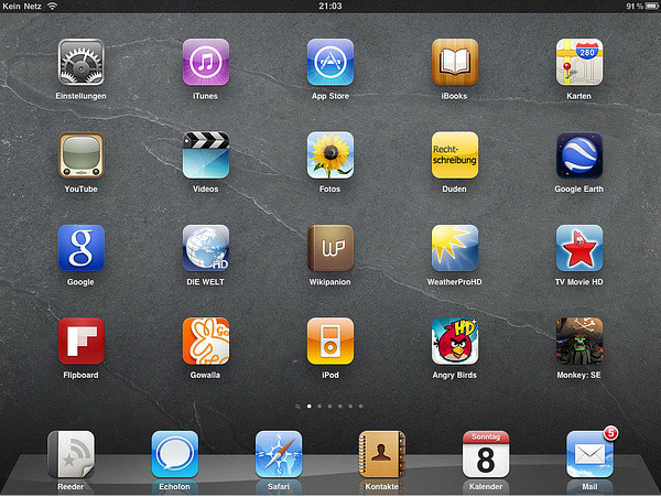 Mein iPad Homescreen