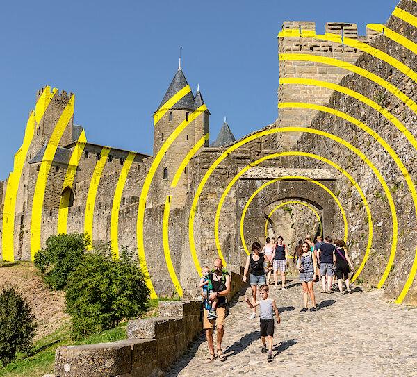 Konzentrische Kreise in der Cité von Carcassonne