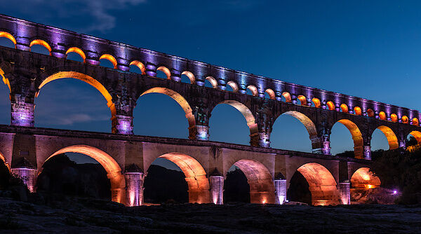 Die Lichtinstallation des Pont du Gard