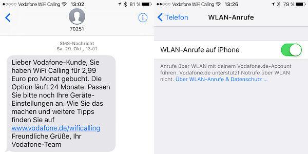 Wifi Calling ist aktiviert