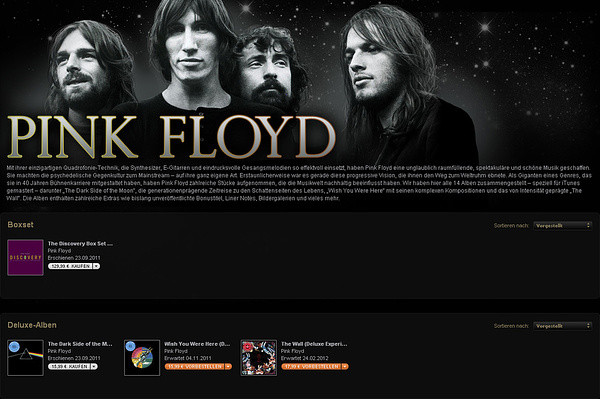 Screenshot: Pink Floyd bei iTunes
