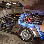 """Doc Browns DeLorean aus """"Zurück in die Zukunft"""" bei den Classic Days auf Schloss Dyck"""