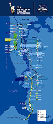 Die Strecke des New York Marathon durch alle fünf Stadtbezirke