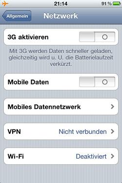 Mobile Daten im iPhone deaktivieren