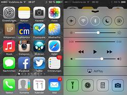 Mein iOS7 Homescreen und das Controlcenter